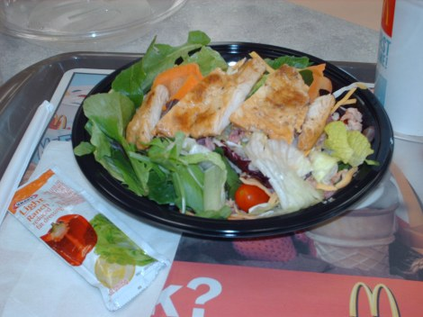 The chicken bacon ranch salad is my favorite. With light ranch from my purse, it's just 7 Points.
