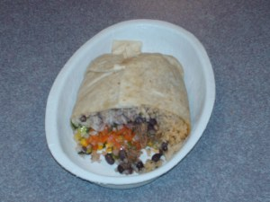 This is just HALF of the burrito I got. I ate the first half for lunch.