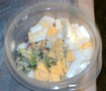 Started the day by mixing a hard-boiled egg into broccoli crunch salad. Surprisingly delicious.