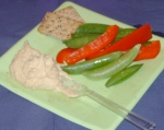 Hummus, snap peas, red pepper and two more of those yummy crackers.