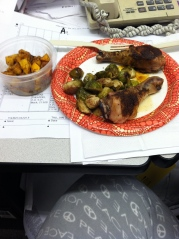 Roasted chicken, brussels sprouts and butternut squash