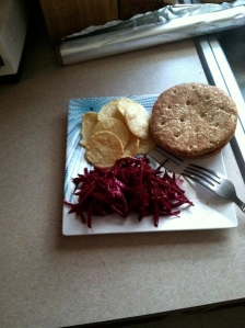 Beet slaw with PopChips and a turkey burger on a Sandwich Thin.