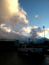 The day was mostly gray, but when I left the theater, the sun was trying to shine. It was nice to glimpse blue sky.