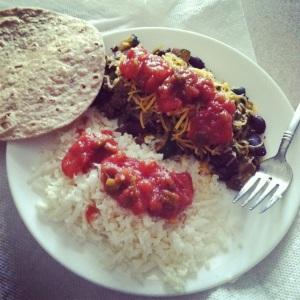 Burrito with cauliflower rice