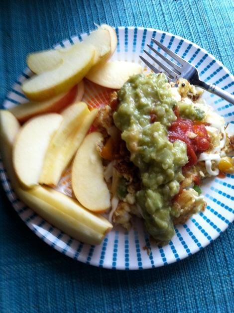 Omelet & an apple