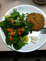 Tuna Quinoa Cake & salad