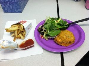 Salmon-Quinoa Cake with Salad & fries