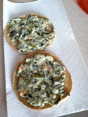 A Sandwich Thin is a perfect vehicle to get TJ's spinach/kale/yogurt dip to your mouth.