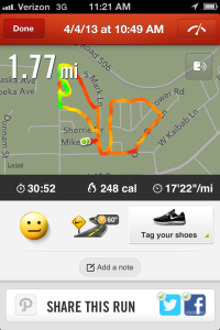 Nike+ screen grab