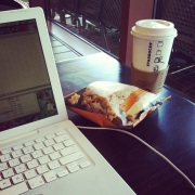 2. Have Starbucks; ready to write.