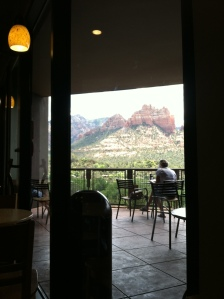 "The view from my ""office"" — the Starbucks at the Hyatt Pinyon Point."