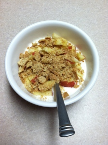 Chobani with apple and graham cracker