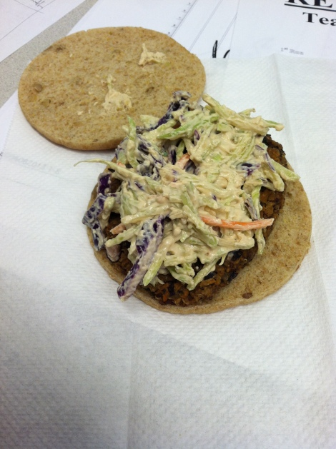 Asian Black Bean Burger with special slaw