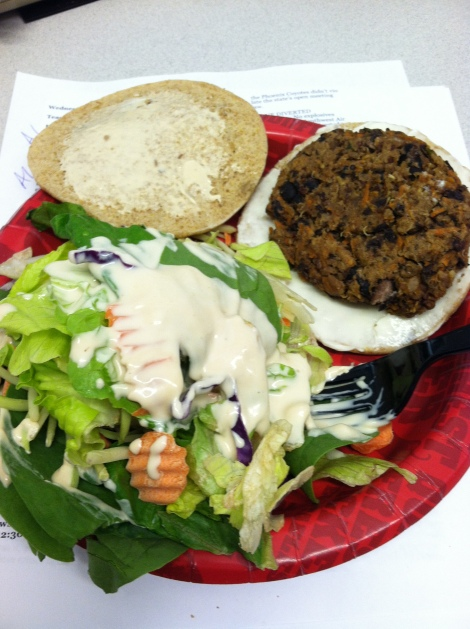 Asian Black Bean Burger with salad
