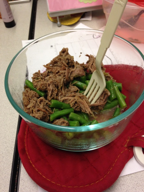 Italian Beef over Green Beans