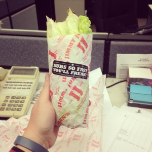 "My Jimmy John's ""Unwich"" came wrapped in its own little jacket to keep it from making a mess."