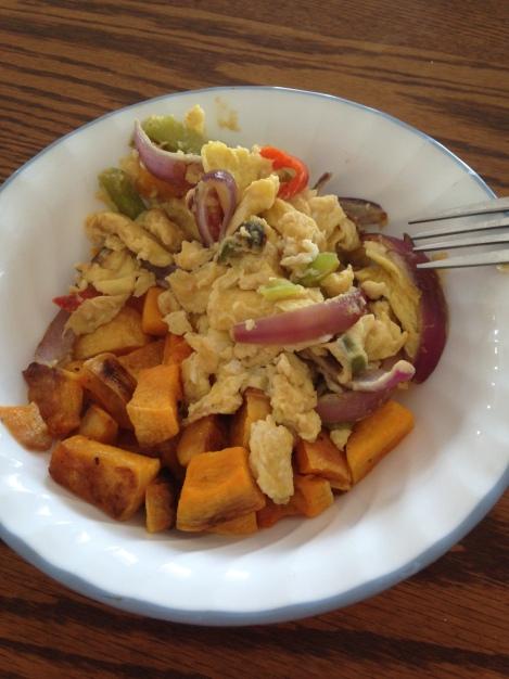 Eggs scrambled with veggies