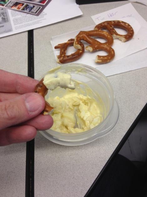 Easy egg salad with pretzels